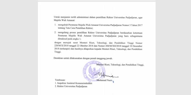 LIPSUS, Pemilihan Rektor Unpad, Surat Kemenristekdikti