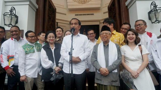 Paslon nomor urut 01, Joko Widodo dan Maruf Amin, keterangan pers terkait perolehan sementara quick count Pemilu 2019
