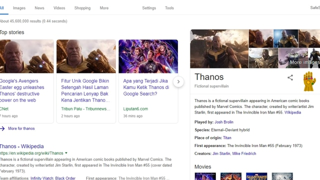 Pencarian Thanos di Google Search
