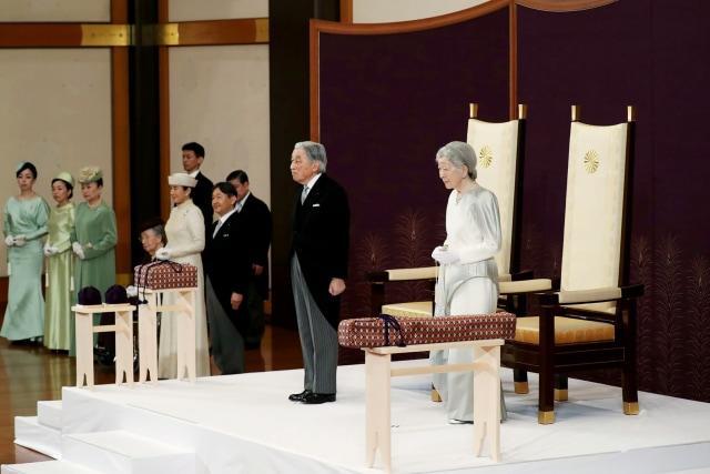 Kaisar Jepang Akihito, upacara turun tahta, Istana Kekaisaran di Tokyo, Jepang