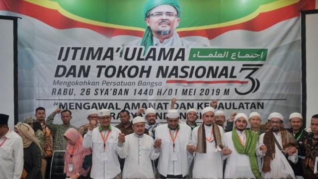 Sejumlah tokoh agama dan nasional membacakan hasil sidang ijtima ulama III