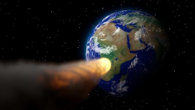 Ilustrasi hantaman asteroid.