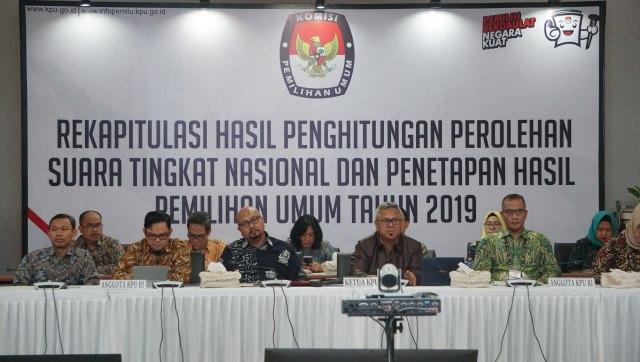 Rekapitulasi Penghitungan Suara Nasional Pemilu 2019 di Gedung KPU, Jakarta, Jumat