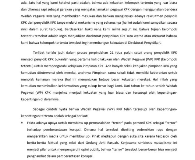 LIPSUS, Pertarungan Penyidik KPK, Surat Penyidik KPK untuk Presiden Republik Indonesia