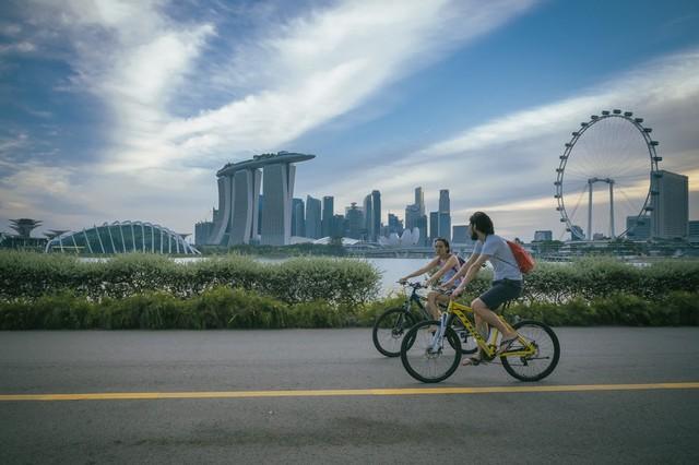 com-Bersepeda di Singapura.