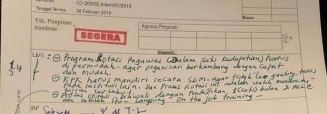 LIPSUS, Pertarungan Penyidik KPK, Surat disposisi