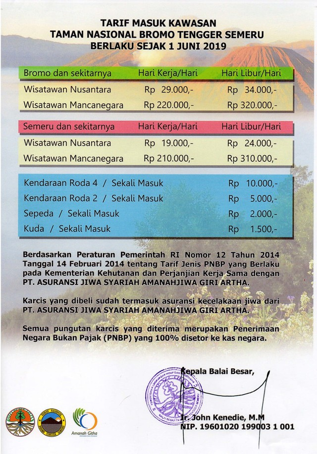 Tarif masuk Kawasan Taman Nasional Bromo Tengger Semeru