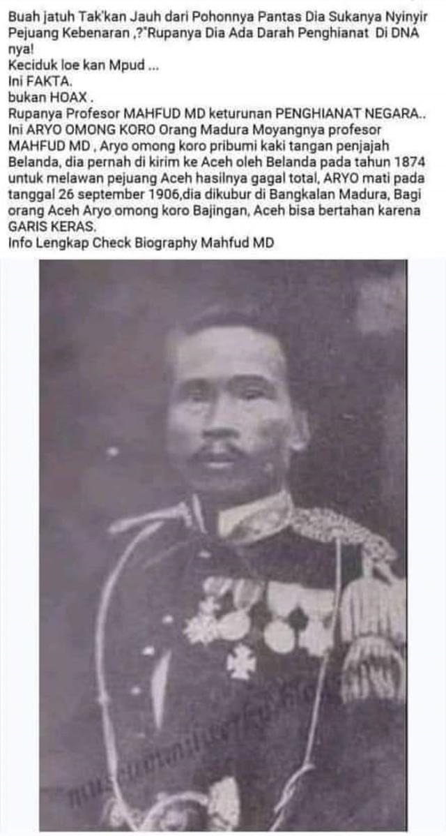 (NOT COVER) Pesan berantai Mahfud MD keturunan pengkhianat Belanda Raden Omong Koro