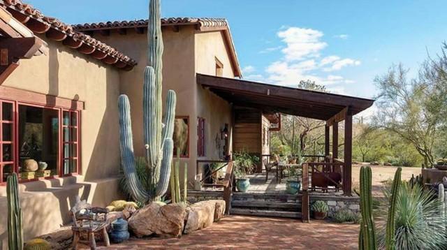 taman kaktus di samping rumah dengan taman hijau jauh di depan
