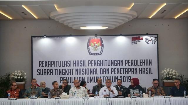 rekapitulasi hasil penghitungan suara di KPU,  penetapan hasil Pemilu 2019