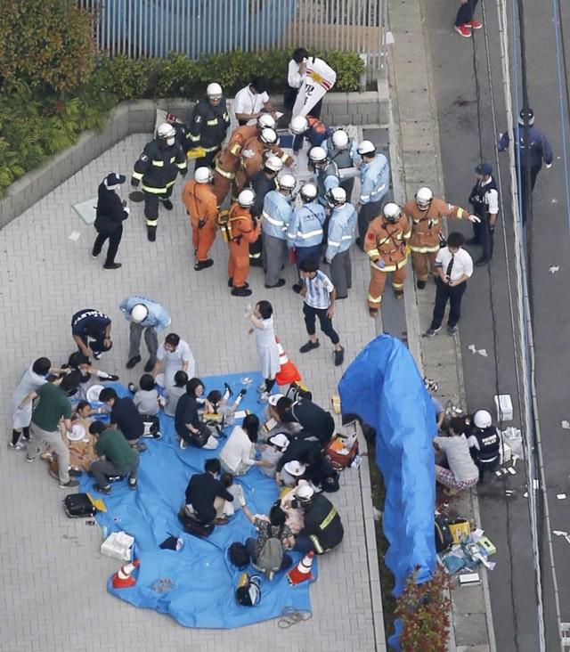 (NOT COVER) Petugas melakukan identifikasi, lokasi penikaman di Kawasaki, Jepang