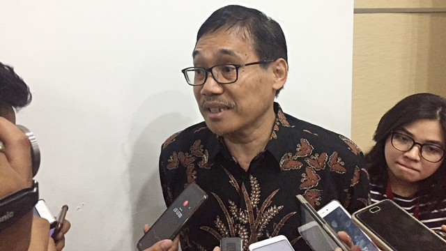 Pelaksana Tugas Ketua BPIP, Hariyono, di Gedung Kemenkominfo
