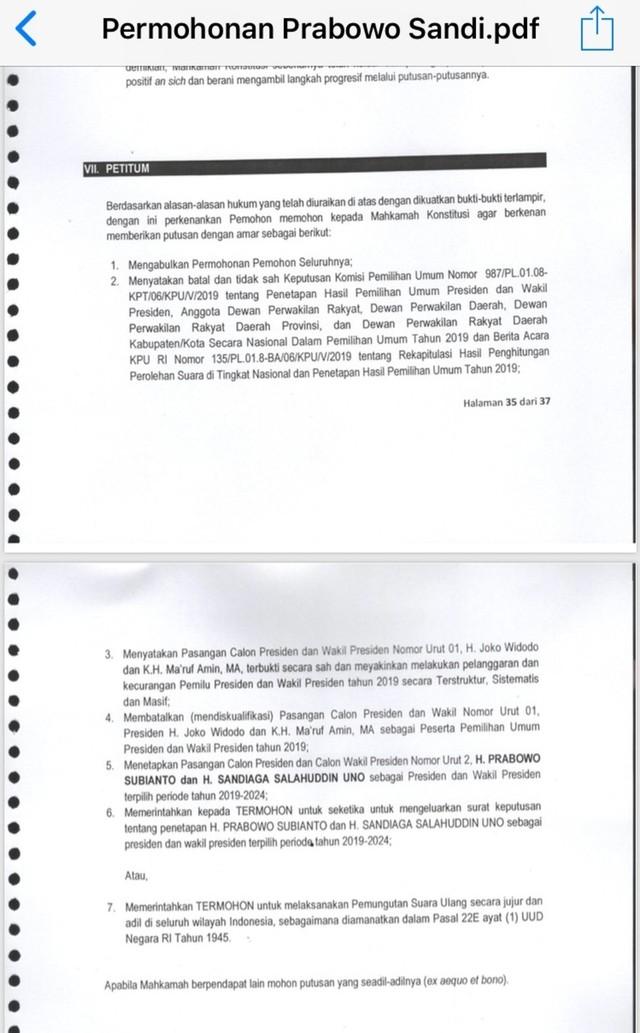 Petitum permohonan Prabowo-Sandi