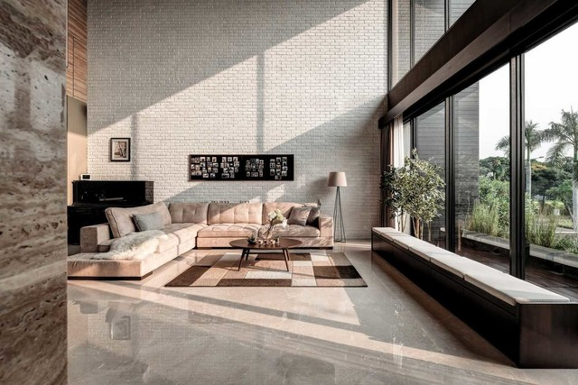 Desain Ruang Tamu Tanpa Kursi  desain ruang keluarga minimalis yang kekinian dan elegan