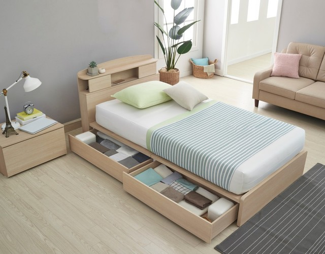 Furnitur multifungsi, tempat tidur dengan laci