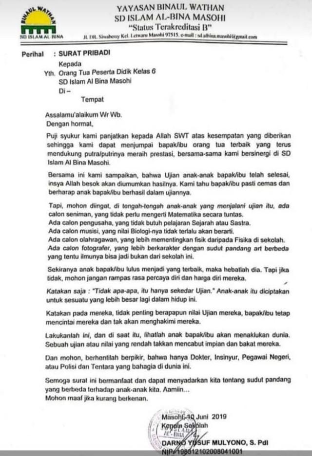 Surat Cinta Kepala Sekolah Di Maluku Bikin Orang Tua Siswa