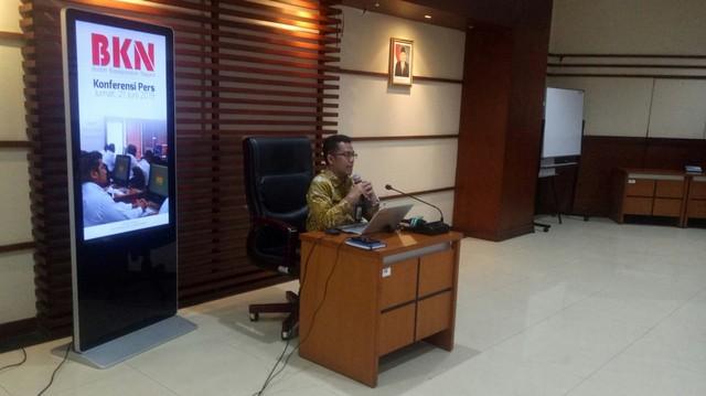 Jumpa pers Kepala Biro Humas BKN Muhammad Ridwan di Kantor BKN Jakarta