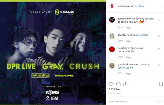 Komentar Instagram Stellar Events