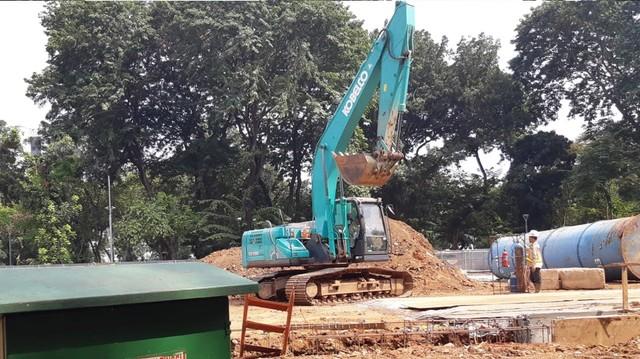 Proses pembangunan fase 2 MRT Taman Monas Jakarta.