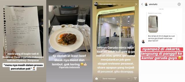 Kolase instastory Rius Vernandes terkait catatan menu makanan Garuda Indonesia yang ditulis tangan