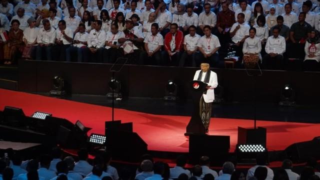 Joko Widodo bersama Ma'ruf, pidato kemenangan di Sentul International Convention Center (SICC)