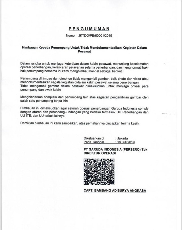 Surat imbauan larangan foto di dalam pesawat Garuda Indonesia (NOT COVER)