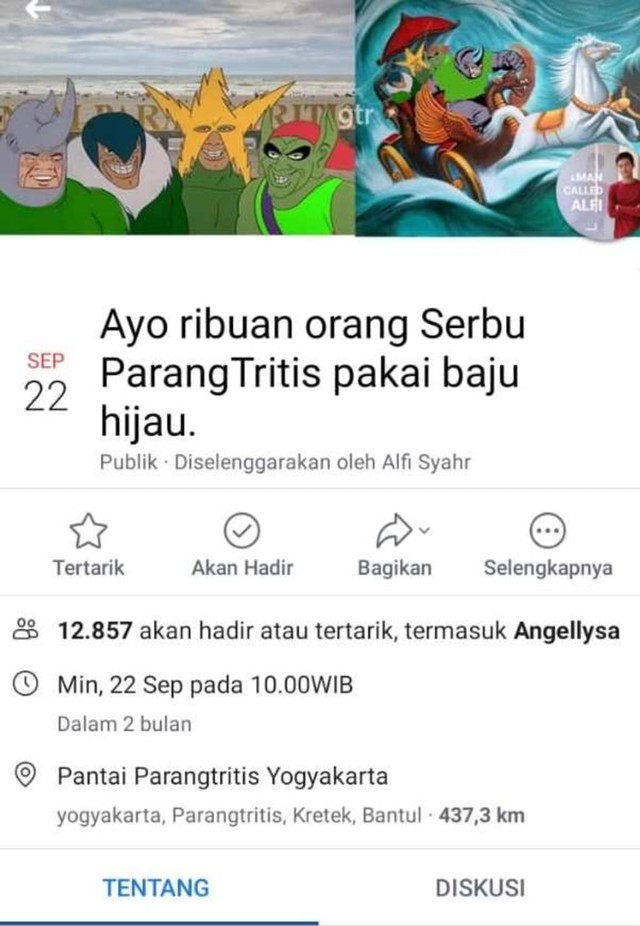 Screenshot facebook ribuan orang, Pantai ParangTritis (NOT COVER)
