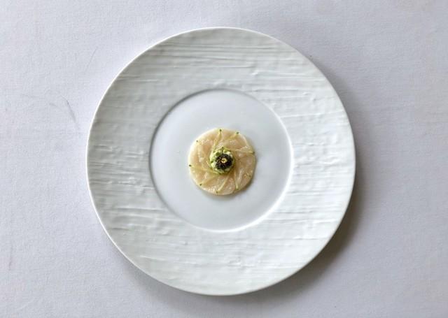 "Carpaccio de Saint-Jacques"" (Hokkaido) with Cucumber Remoulade & Russian Caviar."