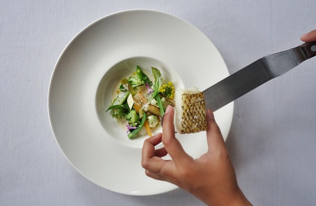 Chilean Seabass with Spring Vegetables & Beurre Blanc  Tartare of Yellowfin Tuna with Celery & Smoked Potato Mousseline.