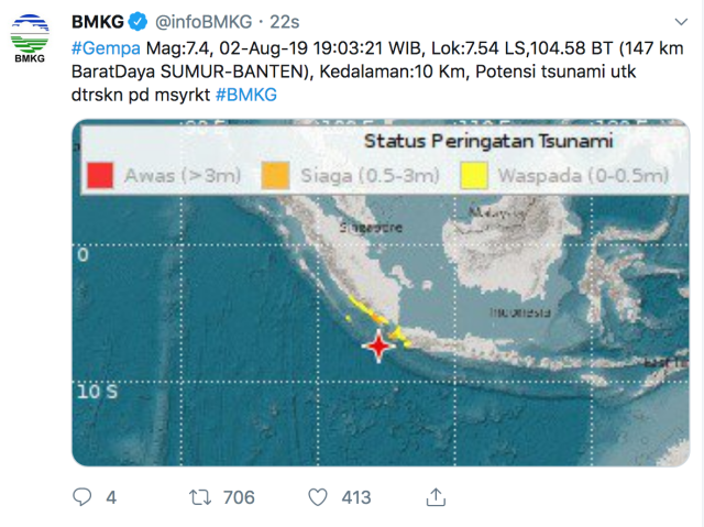 gempa, Gempa di Banten terasa di Jakarta