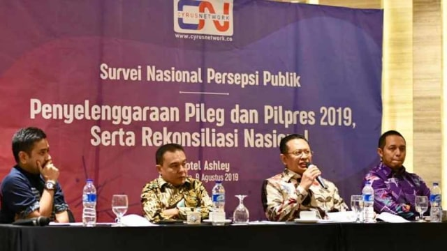 Bambang Soesatyo dalam rilis survei Cyrus Network