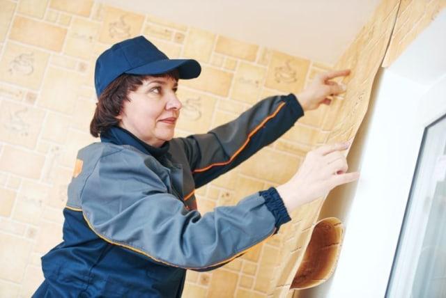ibu melakukan cara memasang wallpaper dinding selanjutnya