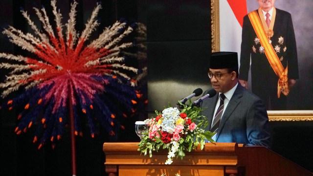 Anies Baswedan saat Rapat Paripurna DPRD Provinsi DKI Jakarta di DPRD Provinsi DKI Jakarta