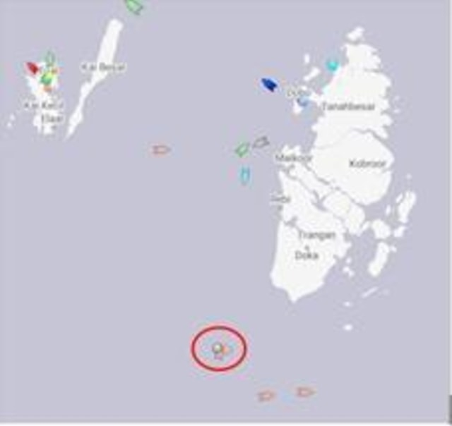 (NOT COVER) Lokasi perampokan kapal di perairan Tual, Dobo, Maluku