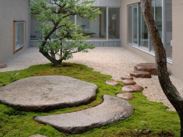 taman depan rumah sederhana bergaya oriental dengan batu besar dalam taman kering