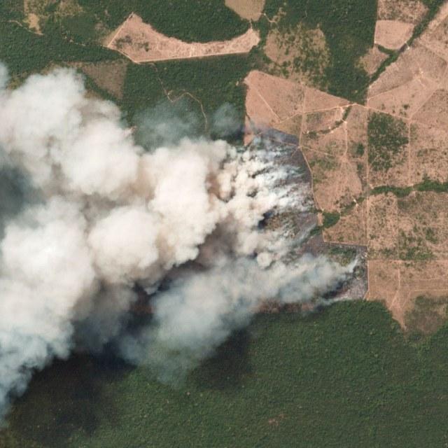 Foto udara kebakaran Hutan Amazon di Brasil