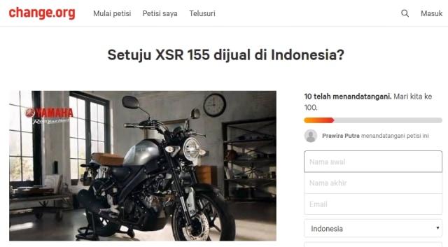 Petisi hadirkan Yamaha XSR155 di Indonesia