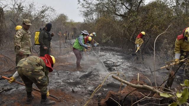 Pemadaman Amazon, Tentara dan pemadam kebakaran berseragam kuning, hutan sekitar Robore, Bolivia timur