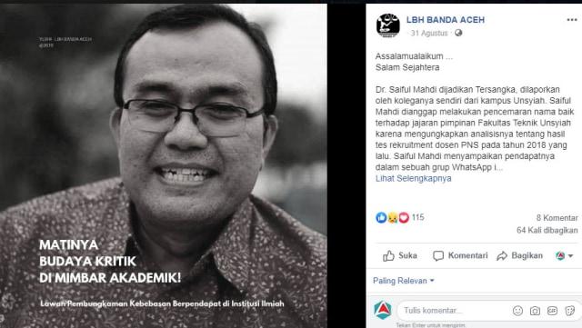 Polisikan Dosen, Dekan FT Unsyiah Tak Terima Tudingan soal Tes CPNS (67606)
