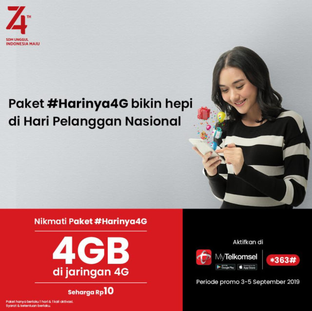 Paket internet 4 GB dengan harga Rp 10 dari Telkomsel.