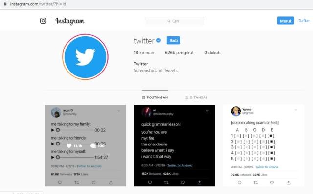 Akun Twitter di Instagram.