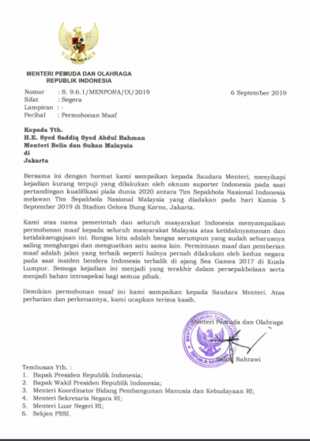 Menpora Imam Nahrawi Kirim Surat Permintaan Maaf Kepada