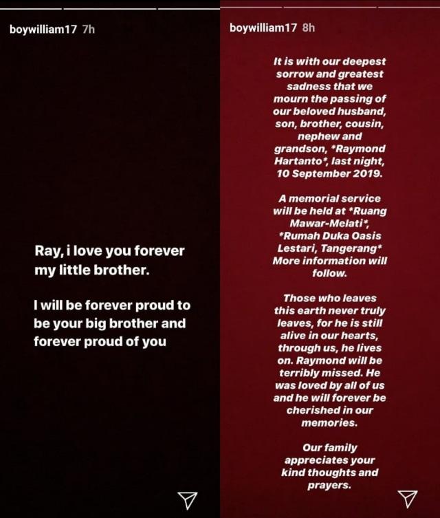 Instagram story Boy William soal Adik Boy William meninggal dunia