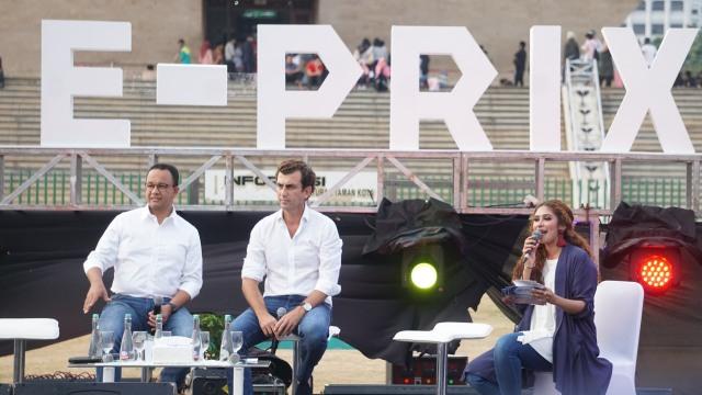 Konferen pers Jakarta Formula E-Prix di Lapangan Monas