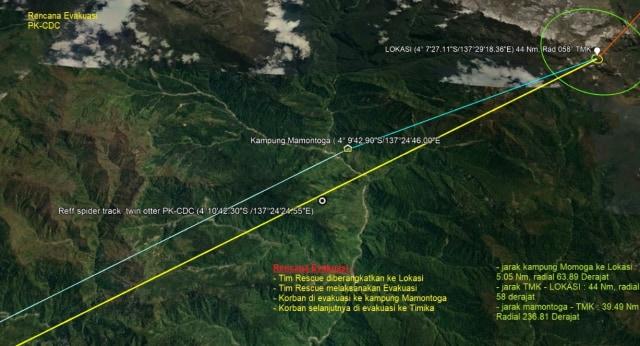 Lokasi Jatuh Pesawat Twin Otter Ditemukan di Distrik Hoeya  (147480)