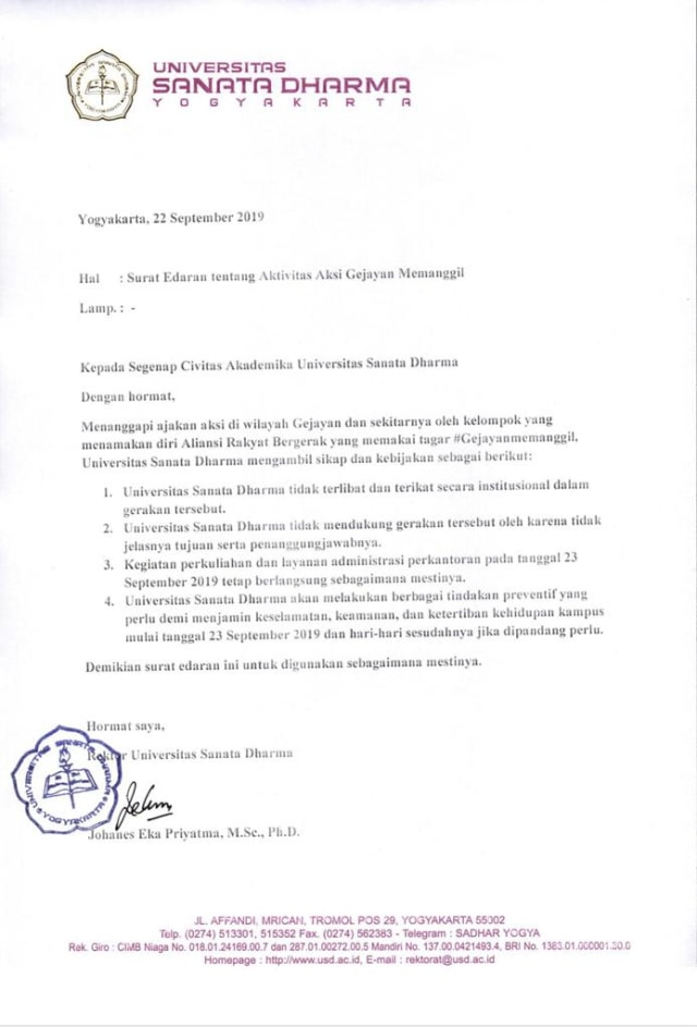 Surat edaran Universitas Sanata Dharma, larangan mahasiswa ikut aksi di Gejayan