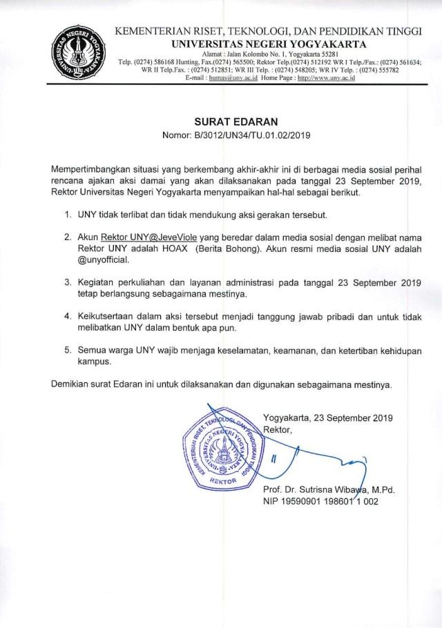 Surat edaran UNY, larangan mahasiswa ikut aksi di Gejayan