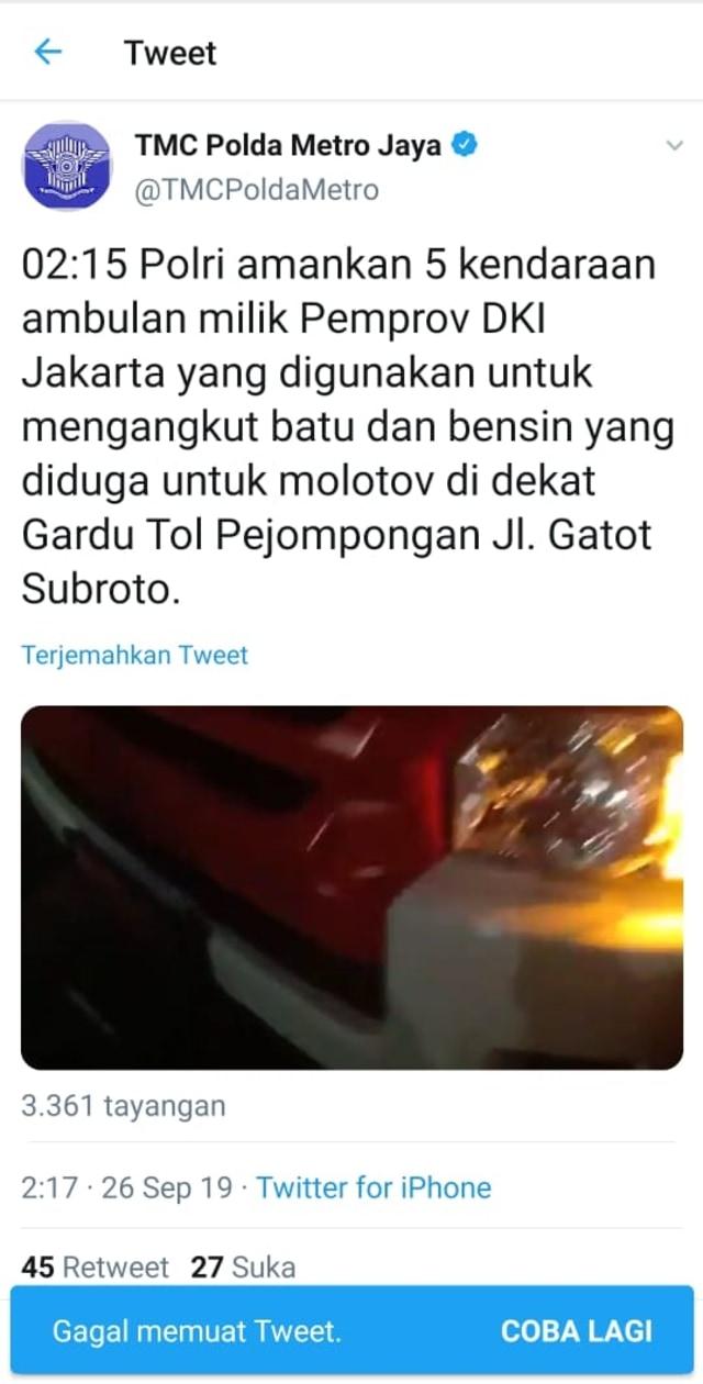 Polisi Hapus Tweet yang Tuduh Ambulans DKI Bawa Batu (222201)