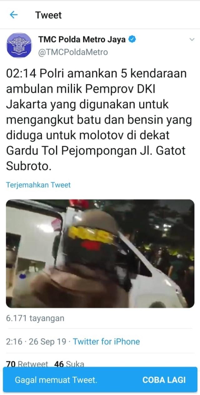 Polisi Hapus Tweet yang Tuduh Ambulans DKI Bawa Batu (222200)