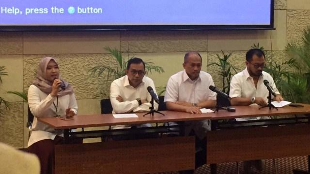 Garuda Indonesia Group Lakukan Kerjasama KSM Kembali Bersama Sriwijaya Group di Kantor Pusat Garuda Indonesia, Tangerang, Selasa (1/10)